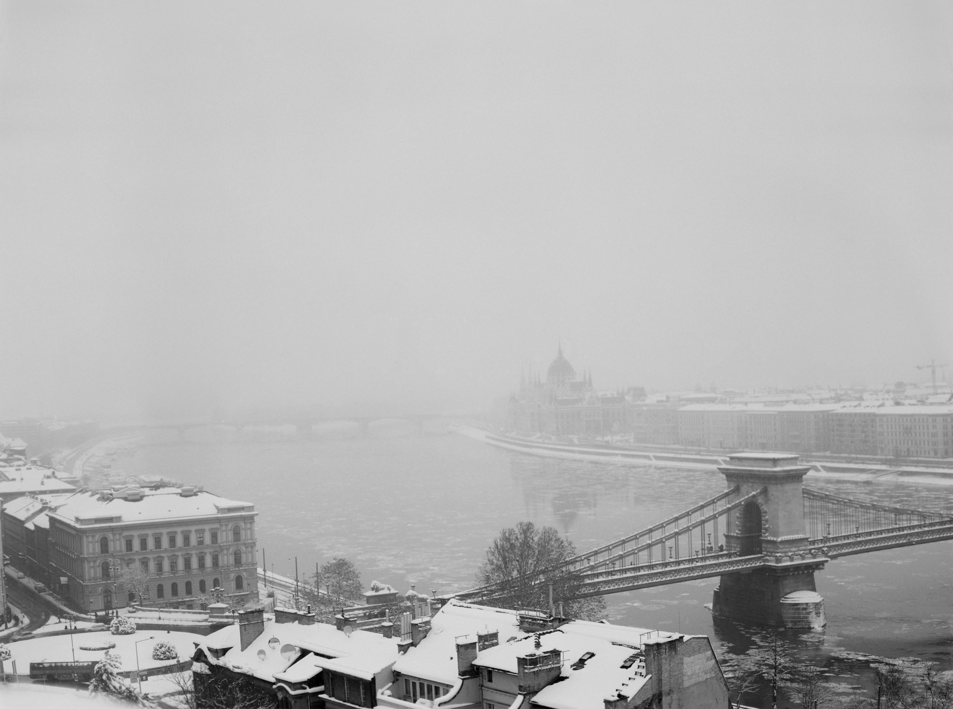 Axel Bernstorff, Snow covered Budapest I. danube River, Lanchid Bridge, Houses of Parliament. Hungary Collectable limited edition fine art prints.