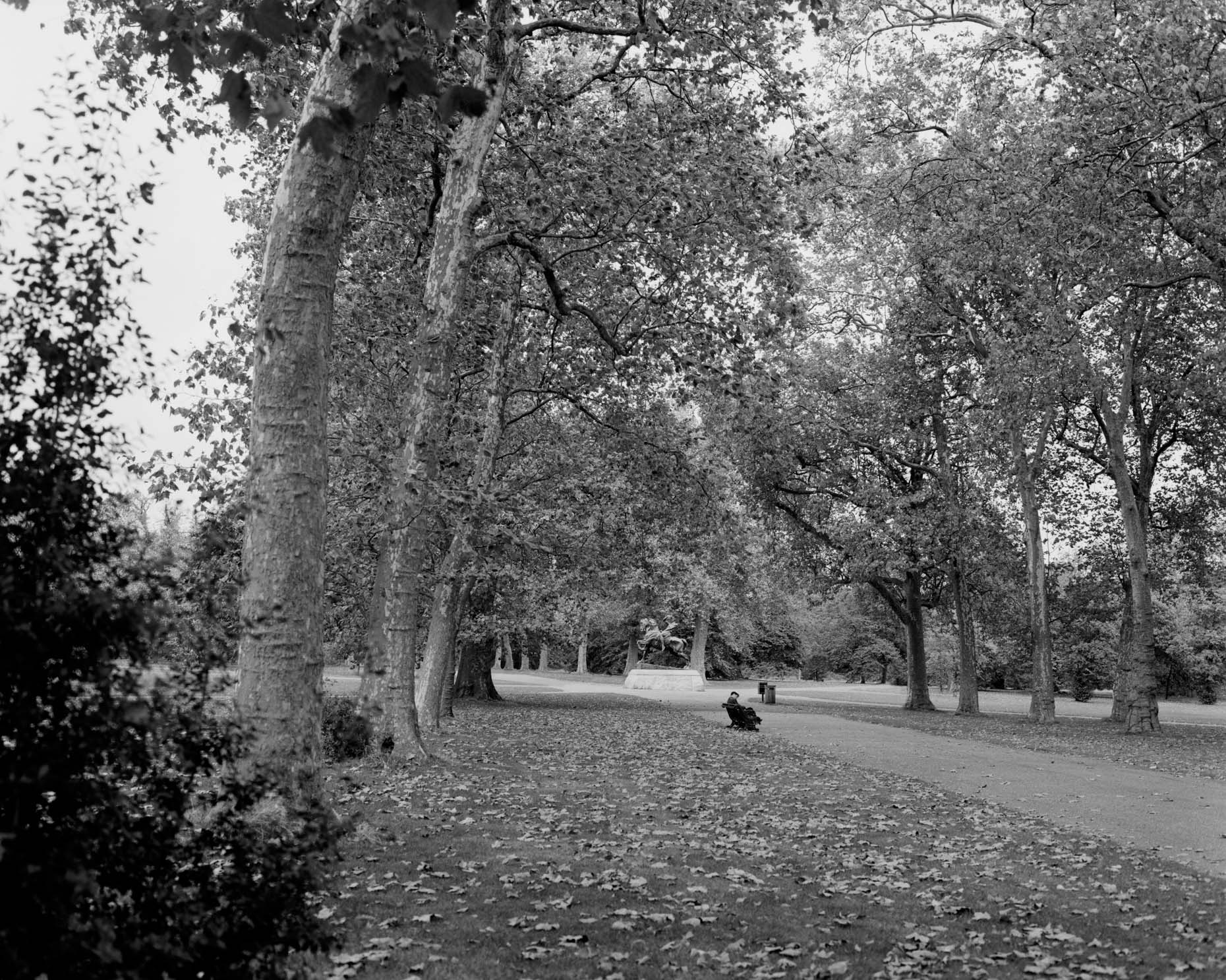 Axel Bernstorff, Collectable limited edition fine photographic art prints. A quiet moment by the Physical Energy Statue, Kensington Palace Gardens, in the Royal Borough of Kensington and Chelsea in London, England.