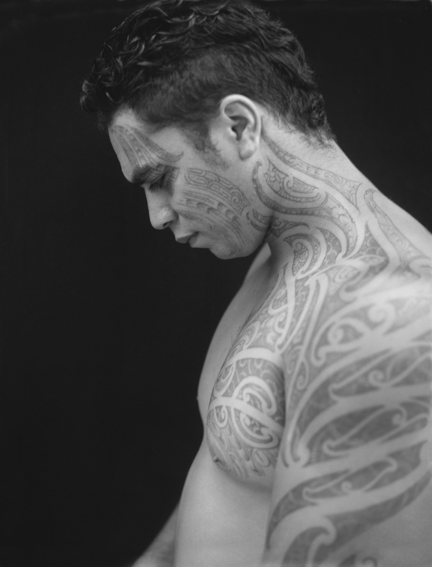 Axel Bernstorff, Fine example of rangi pahuri moko (facial tattoo) on a man from the NgaPuhi tribe in Aotearoa New Zealand Collectable limited edition prints. Moko, Aotearoa New Zealand